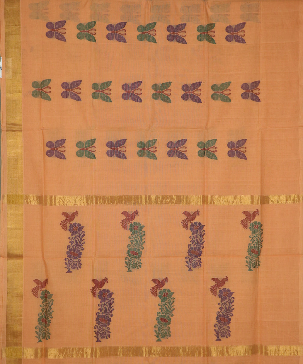 Carrot orange handloom Rajahmundry fancy cotton saree