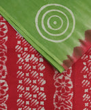 sage green batik printed saree