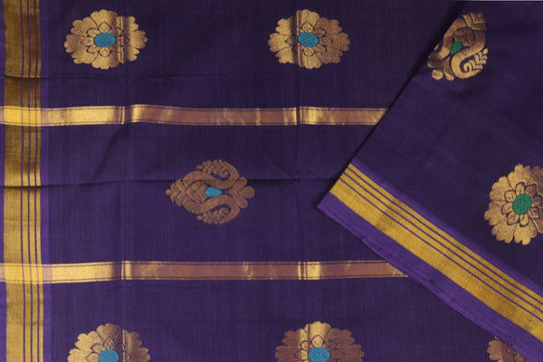Purple blue handloom Rajahmundry fancy cotton saree