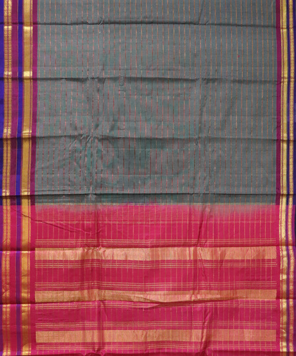 Steel grey Handloom Gadwal SICO saree