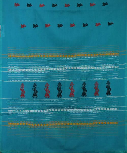 Olympic blue gollabhama cotton saree