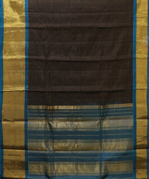 Dark Brown handloom Gadwal SICO saree