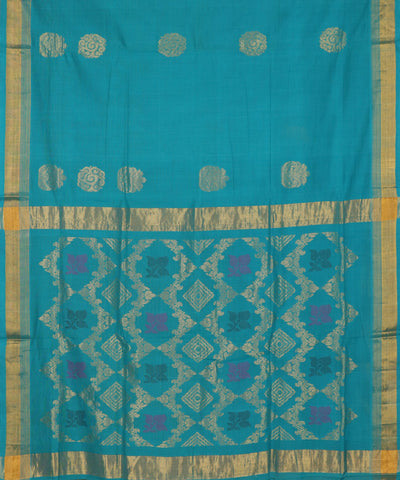 Olympic blue handloom Rajahmundry fancy cotton saree