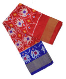 Chilli red and navy blue silk ikath pavada
