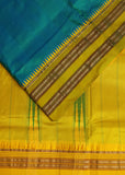 Flax Yellow handloom Gadwal Silk saree