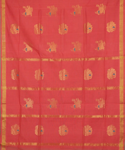 Scarlet red handloom Rajahmundry fancy cotton saree