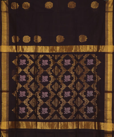 Dark chocolate handloom Rajahmundry fancy cotton saree