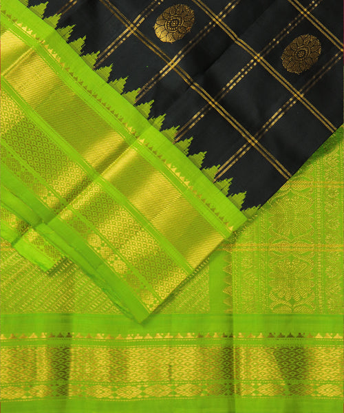 Black handloom Gadwal Silk saree