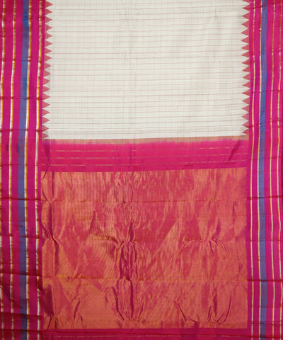 Cream shade handloom Gadwal Silk saree