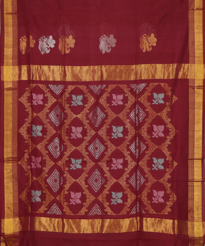 Carmine red handloom Rajahmundry fancy cotton saree