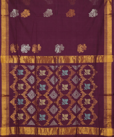 Purple handloom Rajahmundry fancy cotton saree