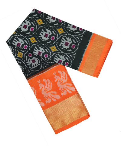 black and ferrari orange silk ikath pavada