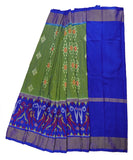 Sea green and navy blue silk ikath pavada