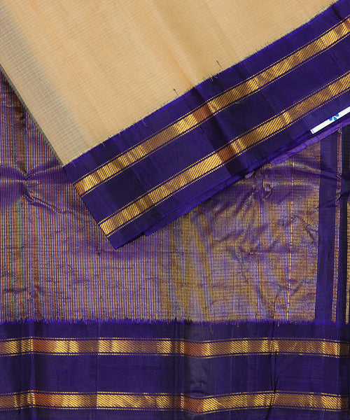 Peach yellow Handloom Gadwal SICO saree