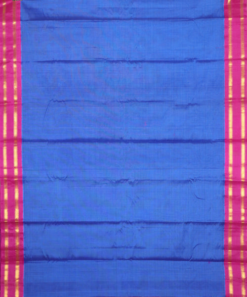 Plain blue color Gadwal Cotton saree