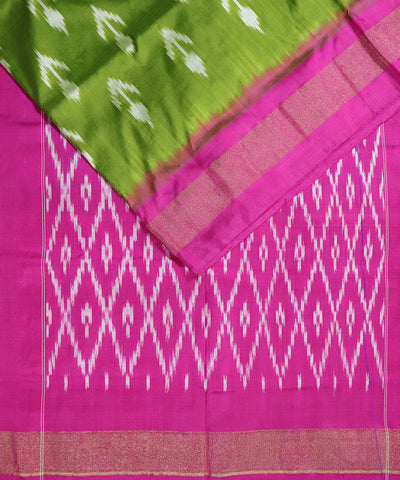 Olive green color Pochampally Silk Sarees