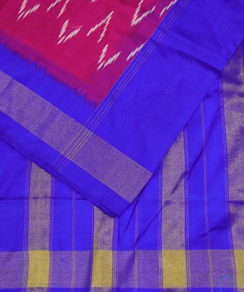 Dark pink Pochampally Silk Sarees