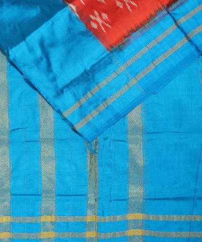 Crimson red color Pochampally Silk Sarees