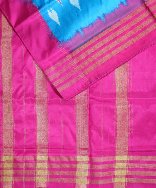Azure blue color Pochampally Silk Sarees
