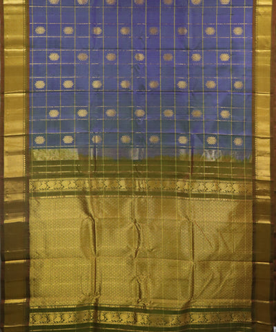 Space blue handloom Gadwal Silk saree