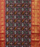 Black Kanchi Tie & Die handloom silk saree