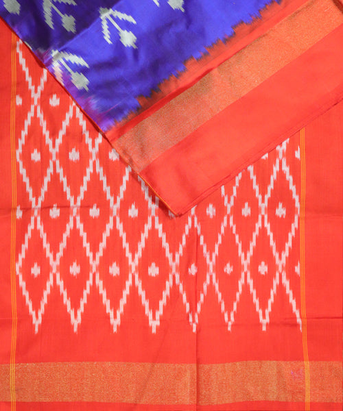 Egyptian blue color Pochampally Silk Saree