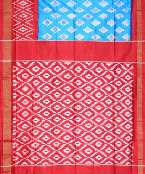 Mava blue color Pochampally Silk Saree