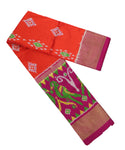 Orange and dark pink silk ikath pavada