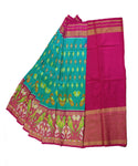 Jungle green and ruby pink silk ikath pavada