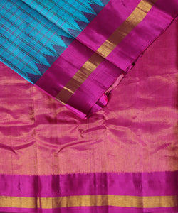 Olympic blue Handloom Gadwal SICO saree
