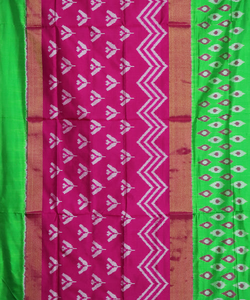 Magenta pink color pochampally silk saree