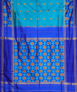 Olympic blue color pochampally silk saree