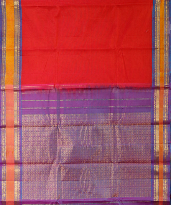 Handwoven Gadwal SICO Saree In Dark Red