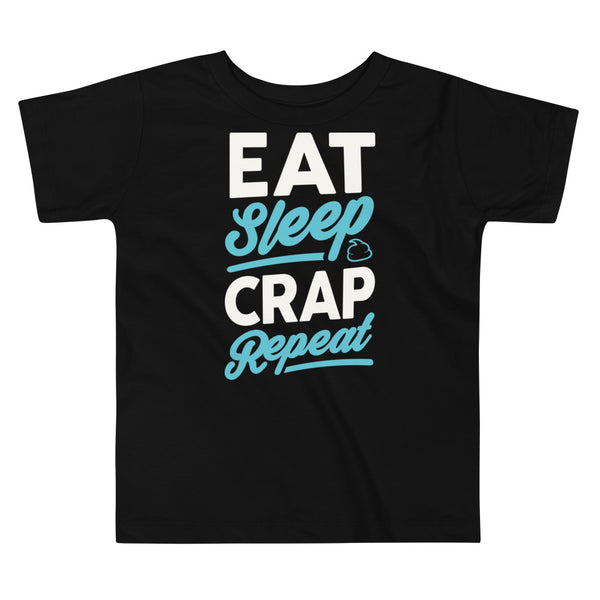 Eat Sleep Crap (White & Seafoam) Toddler Short Sleeve Tee
