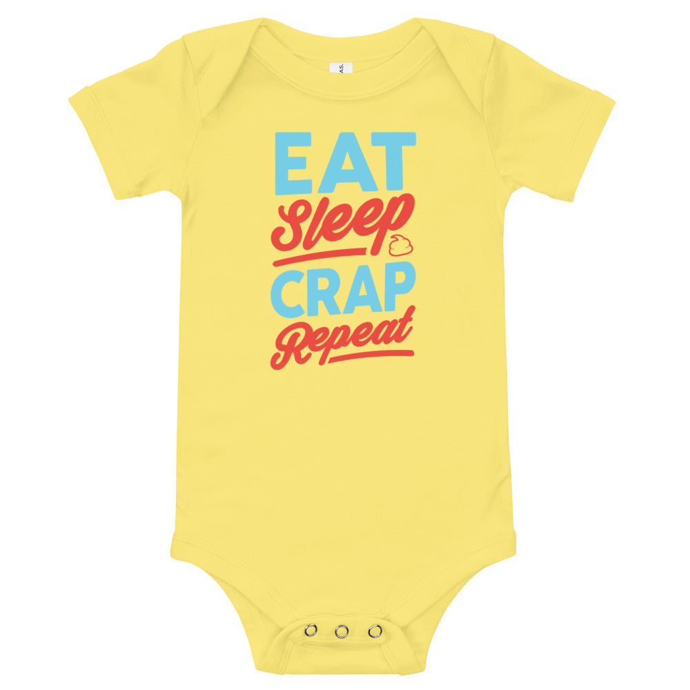 Eat Sleep Crap Repeat (Seafoam & Red) Baby Onesie