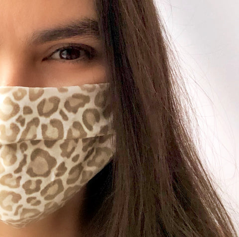 Snow Leopard Pleated Face Mask