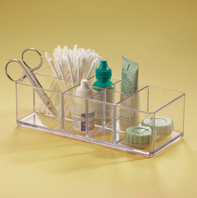 InterDesign Med+ Bathroom Medicine Cabinet Organizer, for Tweezers, Medical Supplies, Contact Lenses, Cotton Balls - Clear