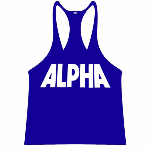 ALPHA Singlet Racerback - Blue/White - Flexz Fitness