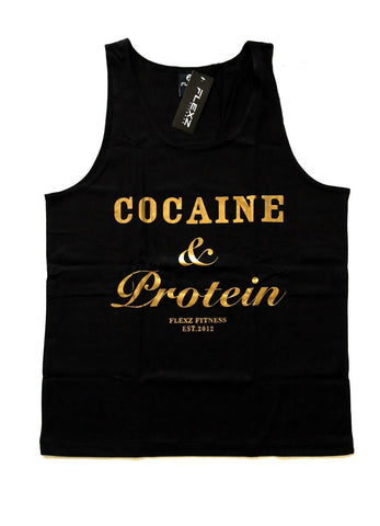 Cocaine & Protein Tanktop - Black/Gold - Flexz Fitness - 1