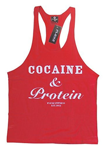 Cocaine & Protein Singlet Racerback - Red/White - Flexz Fitness - 1