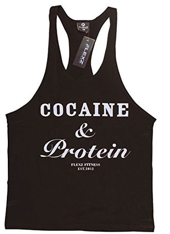 Cocaine & Protein Singlet Racerback - Black/White - Flexz Fitness - 1