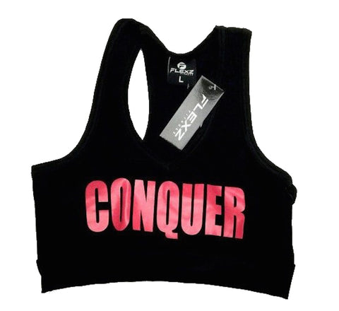 Conquer Sports Bra - Black/Pink - Flexz Fitness