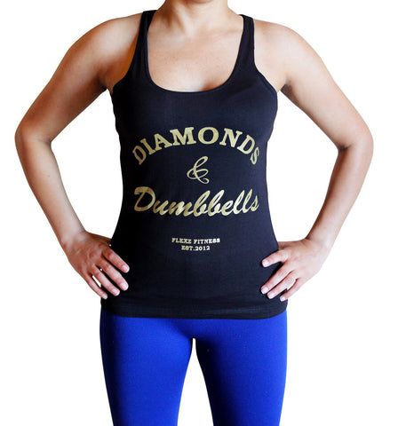 Diamonds and Dumbbells Womens Tank Top - Comfortable racerback to wear at Gym, Yoga, workout and crossfit - Flexz Fitness - 2