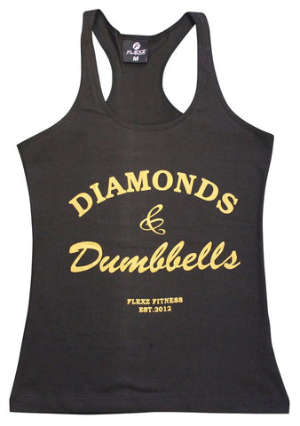 Diamonds and Dumbbells Womens Tank Top - Comfortable racerback to wear at Gym, Yoga, workout and crossfit - Flexz Fitness - 1