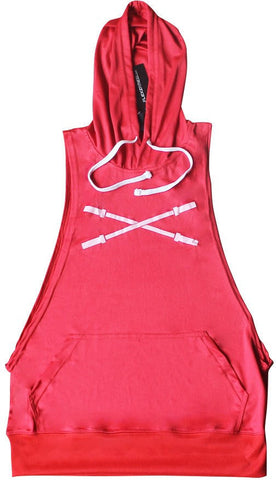 Sleeveless Muscle Hoodie - Red - Flexz Fitness - 1