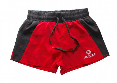 Ibiza Golds Aesthetic Muscle Gym Shorts - Red - Flexz Fitness