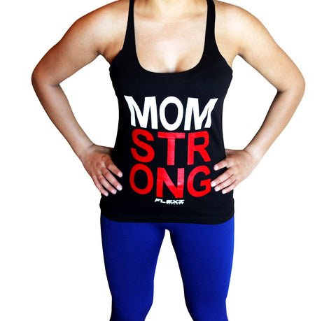 Mom Strong Womens Tank Top - Comfortable racerback to wear at Gym, Yoga, workout and crossfit - Flexz Fitness - 2