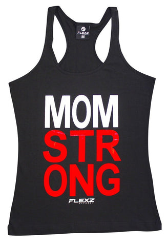 Mom Strong Womens Tank Top - Comfortable racerback to wear at Gym, Yoga, workout and crossfit - Flexz Fitness - 1