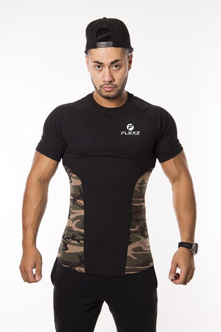 Camo Muscle T-Shirt Fitted Lightweight Snug Slim Fit Gym Workout Soft Stretch Moisture Dri-Fit - Flexz Fitness - 2