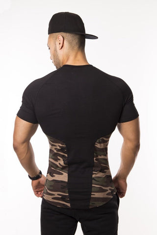 Camo Muscle T-Shirt Fitted Lightweight Snug Slim Fit Gym Workout Soft Stretch Moisture Dri-Fit - Flexz Fitness - 3